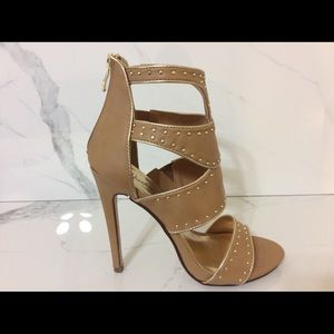 "New Women's Tan Bling Shoes Sexy 5"" Heels Size 8.5"